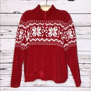 Quacker Factory NWOT L Snowflake Chenille Sweater